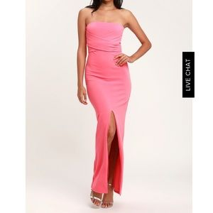 BN Lulus own the night pink strapless maxi dress M